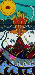 Le ciel et la terre se sont fâchés. (triptyque) Exposition Madagascar (contes) - 1999 -