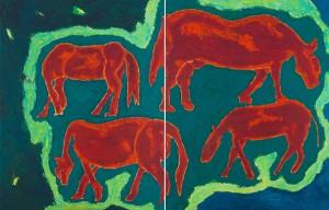 """Les quatre """"chevals"""" (Diptyque). Exposition """"La marche"""" - 2009 -"""