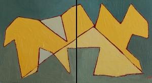 Animal chaleureux sur fond de verts et de bleus (Diptyque) - 2012 -
