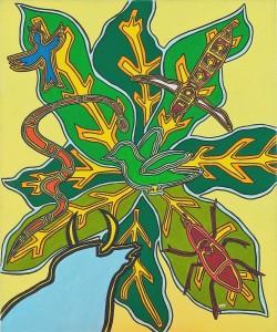 La tourterelle et le pigeon vert. Exposition Madagascar (contes) - 1999 -
